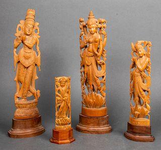 Assorted Indian Hindu Wood Sculptures, 4