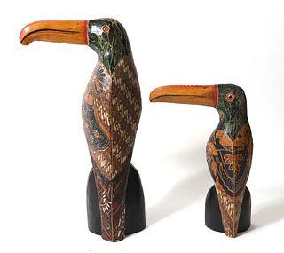 Tropical Toucan Wooden Sculptures, 2