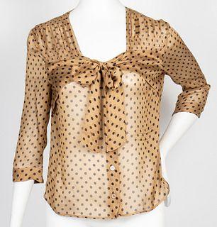 Prada Designer Polka Dot Print Silk Blouse