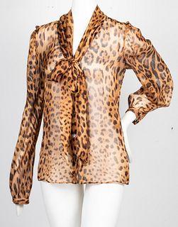 Dolce & Gabbana Leopard Print Silk Blouse