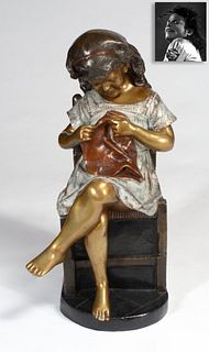 Statue of Girl Sewing, Bronze, ex. Michael Jackson