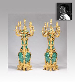 Pair of Malachite Candelabras, ex. Michael Jackson