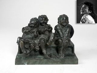 Three Children on a Bench, Bronze, ex. Michael Jackson