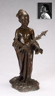 Boy Playing Hand Chime, Bronze, ex. Michael Jackson