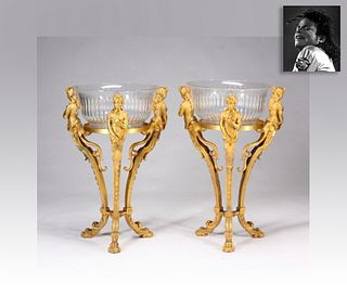 Pair of Gilt Tripods w Glass Bowls, ex. Michael Jackson