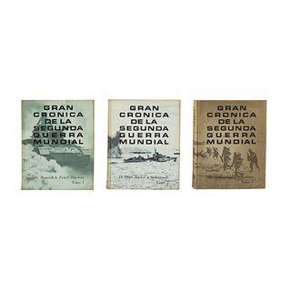 LOTE DE LIBROS: GRAN CRÓNICA DE LA SEGUNDA GUERRA MUNDIAL.  México: Reader´s Digest, 1967.  Piezas: 3.