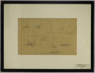 REYNOLDS BEAL (1867-1951, RI, MA) PENCIL STUDY ON