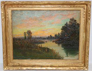C MYRON CLARK (1858-1925, MA) OIL ON CANVAS,