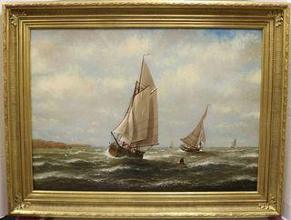WESLEY WEBBER (1841-1914, MA, CA, ME) OIL ON
