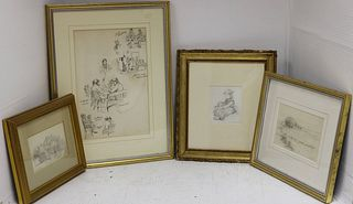 FOUR FRAMED DRAWINGS TO INCLUDE: ONE BY FRANK