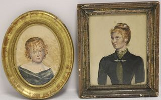 TWO FRAMED 19TH CENTURY WATERCOLOR PORTRAITS TO