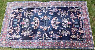 EARLY 20TH CENTURY PERSIAN BLUE SAROUK RUG. BLUE