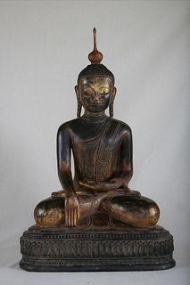Life-sized Buddha, Dry Lacquer, Burma, 18th Century