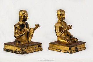 Pair of Gilded Bronze Attendees, Thailand, 18/19th