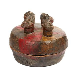 Yoruba Divination Bowl with 4 Heads, Ex Crocker Art