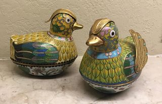 Pair of Cloisonne Wood Ducks, China, 19/20th Century