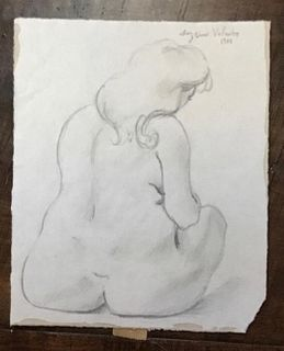 Graphite Sketch, Woman Bathing, Suzanne Valadon