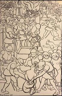 Diego Rivera, Los abusos de los conquistadores, Lithograph