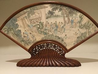 Chinese Painted Fan on Rosewood Stand