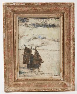 Sailboat in Winter Painting- Mid Century Modern