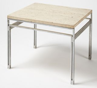 Modern Side Table with Travertine Top