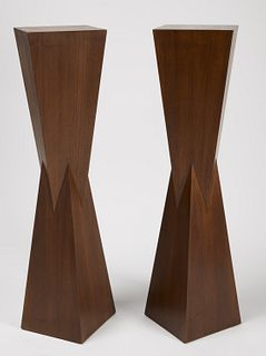 Pair of Modernist walnut Display Bases