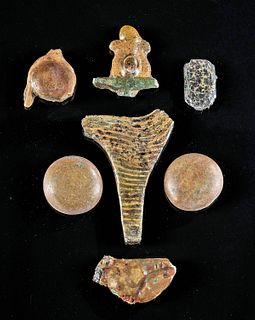 Lot of 7 Egyptian Glass Inlay Fragments
