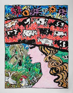 SCHOMER LICHTNER, Woman with Cow Hat, Flowers, Rooster, and Geese