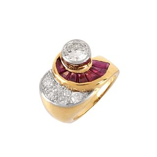 Diamond, Ruby and 14K Ring