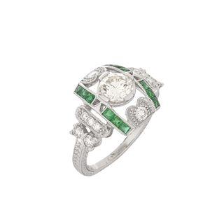 Diamond, Emerald and Platinum Ring