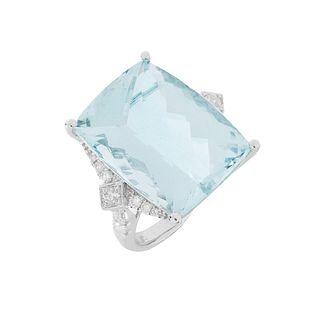 Aquamarine, Diamond and 14K Ring