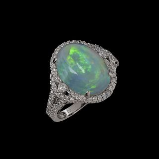 Opal, Diamond and 14K Ring