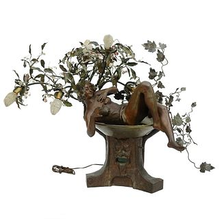 Large Mathurin Moreau Style French Spelter Lamp