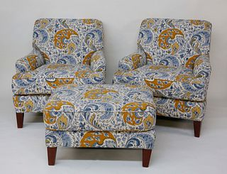 Pair of Blue and Gold Floral Upholstered Armchairs and Matching Ottoman