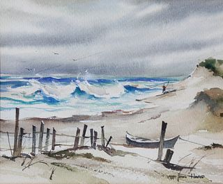 """John Hare Watercolor on Paper, """"Lone Surfcaster"""""""