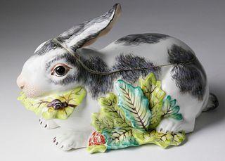 19th Century European Porcelain Rabbit Box