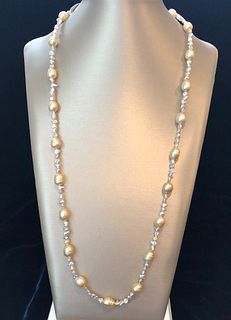 Gold South Sea Baroque Pearl and Keshi Pearl Necklace