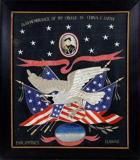 Spanish American War Era Great White Fleet Patriotic U.S. Navy Embroidery, circa 1900