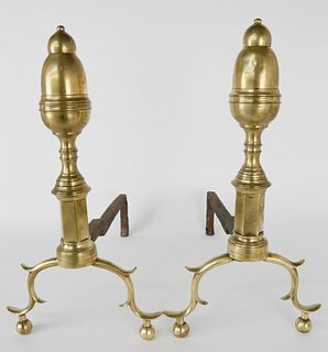 Pair of Early 19th c. Brass New York Bullet Top Andirons