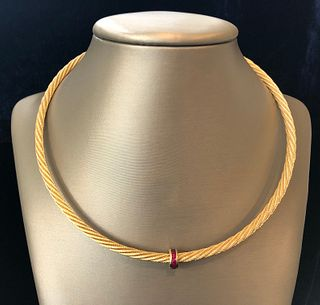 14k Yellow Gold Guy Beard Custom Designed Nautical Form Twisted Cable Necklace