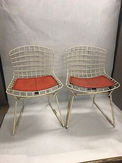 Mid Century Modern Bertoia for Knoll pair childs chairs 1950s marked cushions