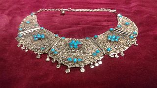 Vintage Silver Asian filigree  five Panel necklace