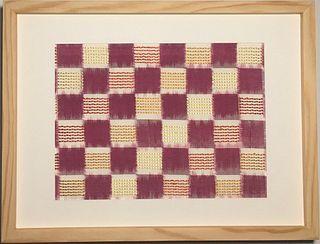 Framed Double-Ikat Silk Textile