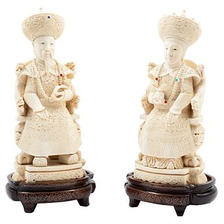 Imperial Couple, China, Ca. 1900, Ivory carved and inked on wooden bases.