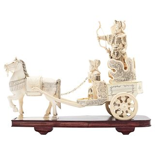 Warrior on Horse, China, Ca. 1900, Carved and openwork ivory on a wooden base.
