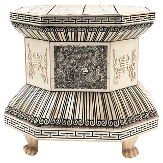 Octagonal Base. China, Early 20th century, Carved, inked ivory.