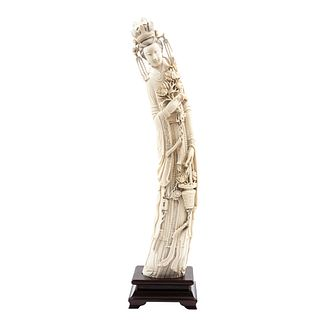 Lady with Flowers, China, Ca. 1900, Carved and inked ivory on wooden base.