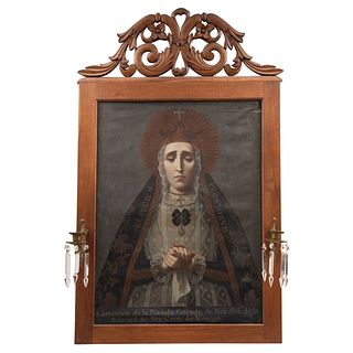 Our lady of Solitude, Mexico, Late 18th century, Oil on canvas, carved wooden frame with decorative finish.