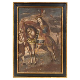 Martin of Tours, 18th century, South American school, Oil on canvas with golden applications.