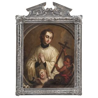 Mexican School of the 18th Century, St. Aloysius de Gonzaga, Oil on copper sheet and embossed silver frame.
